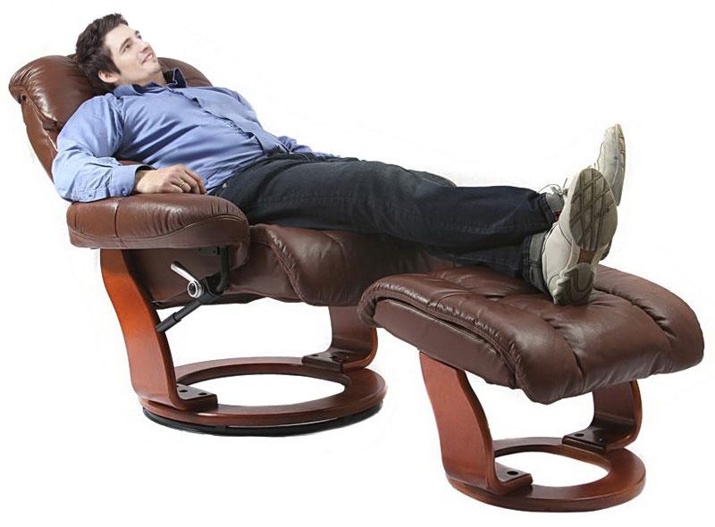 Кожаное кресло реклайнер Relax Lux