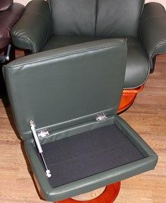 Кожаное кресло реклайнер Relax Mauris подставка для ног