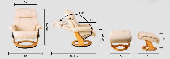 Кресло реклайнер из натуральной кожи Relax Piabora размеры